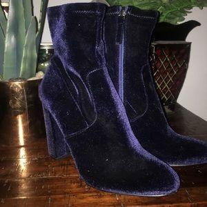 Steve Madden Blue Velvet Sock Boots